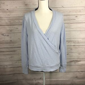 J. Crew Light Blue Faux Wrap Top in Textured Crepe